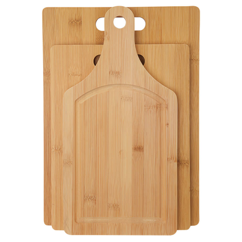 The 3pc Bamboo Cutting Board Set Has A Padded Board With Debossed Detail, Carry Handles With A Medium And Large Cutting Board.