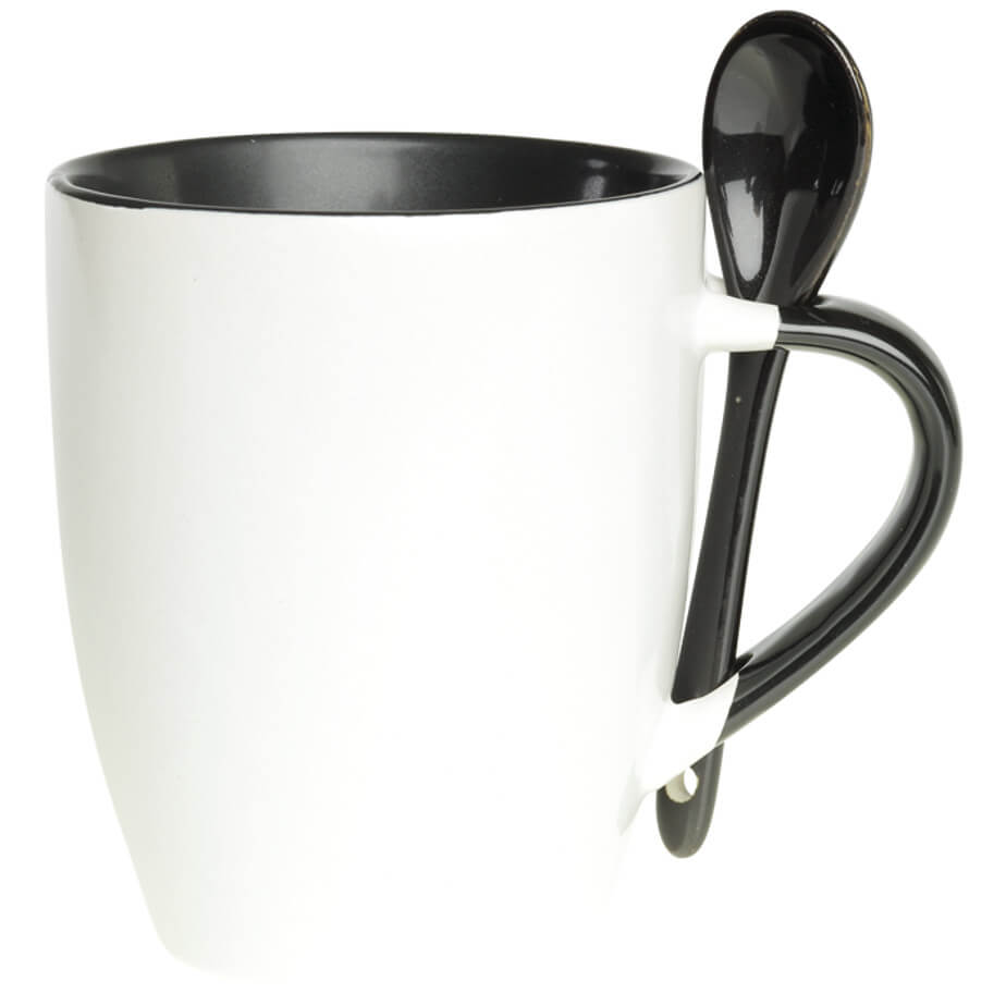 The Black 345ml Ceramic Mug with Spoon Features A Contrast Colour Interior, Handle With Spoon And Ceramic Spoon.