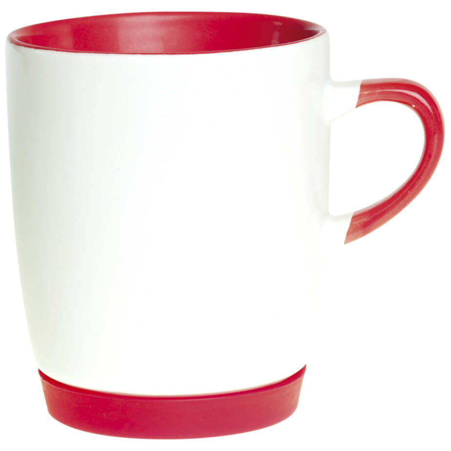 The Red Ceramic Mug With Matching Base Features A White Body And Matching Colour Base. The Mug Includes Colour Handle And Interior.