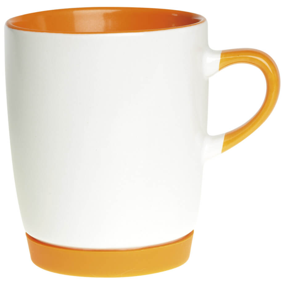 The orange Ceramic Mug With Matching Base features a white body and a matching colour base, handle and inner. Made from ceramic