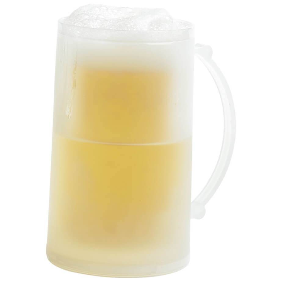 The Freeze Gel Beer Mug Is Made From pp Construction.The Mug Features A Double Wall Beer Mug With A Freeze Gel Inside And A Curved Handle.