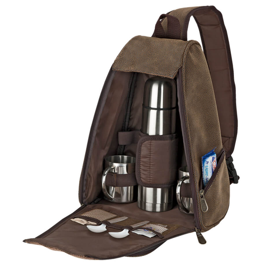 The Out Of Africa Sling Bag Coffee Set Is Made From Rugged Exterior. The Features Include A Main Zippered Compartment, Interior Mesh Pocket, Carry Handle, 2 x 200ml Steel Cups And A Padded Adjustable Shoulder Sling Strap.