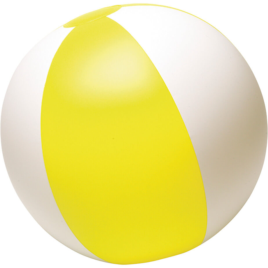 PVC White And Yellow Two Tone Inflatable Beach Ball