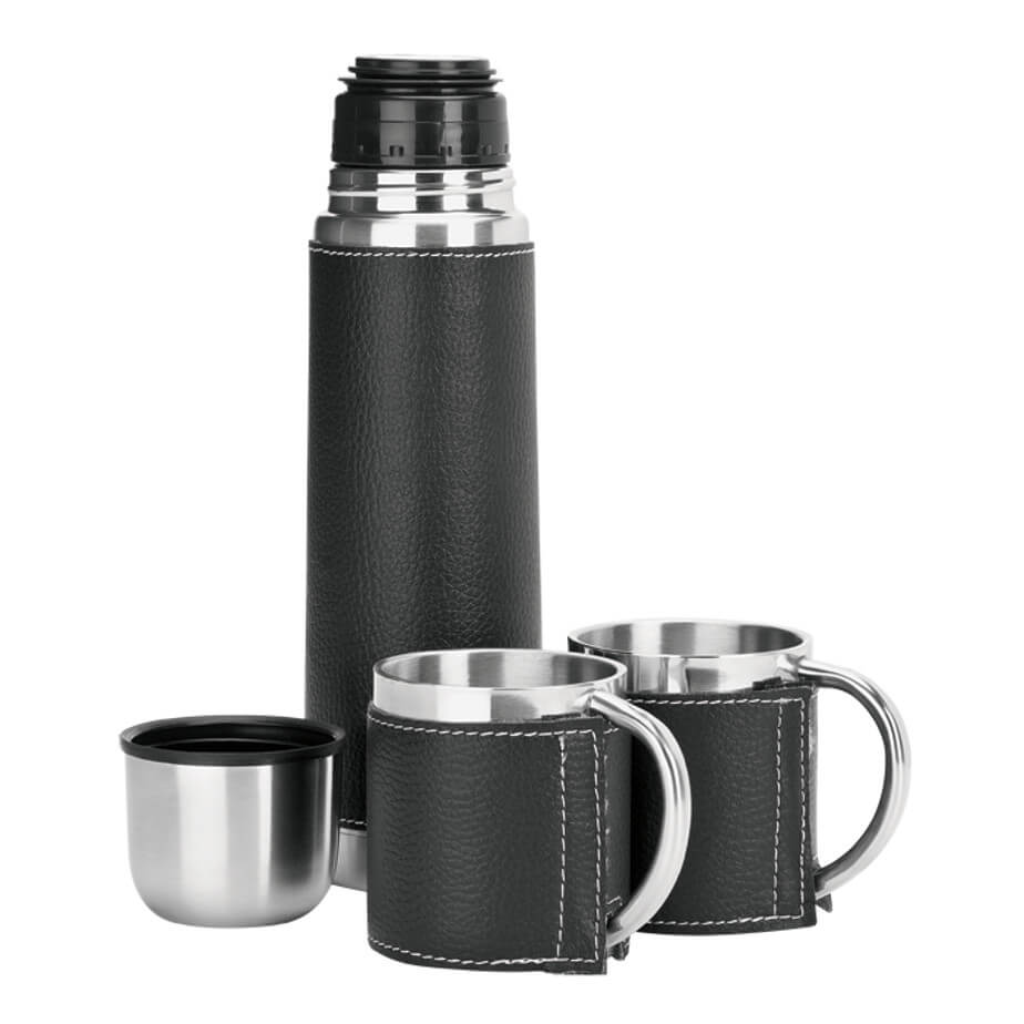 The 500ml Steel Flask And Mug Set Features A Double Wall Insulated Thermos, 18/8 Stainless Steel Liner And A Lichee Finish. The Set Includes A Zippered Carry Case.