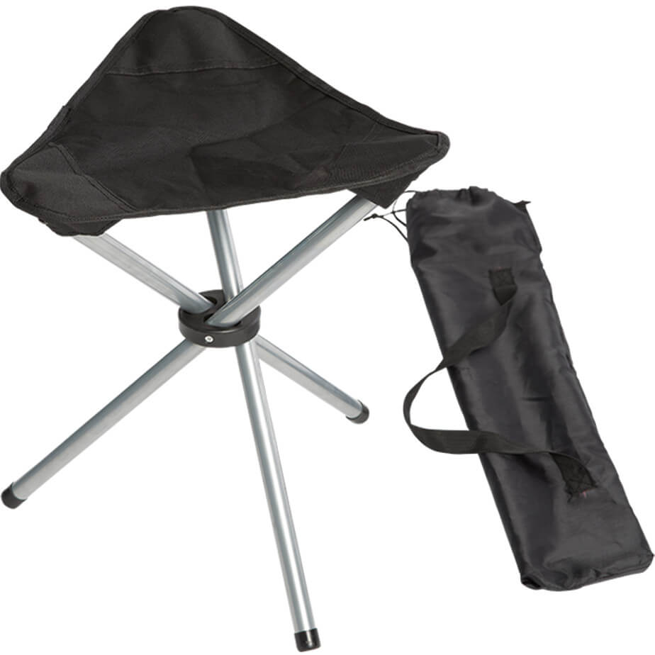 The Outdoor Chair Stool Is Made From 600D/300D PVC. The Features Include A Steel Frame, Rubber Middle, A 210D Carry Case And A Carry Handle Attached.