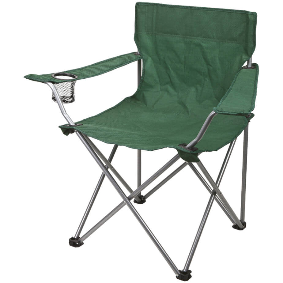 The Bush Green Folding Outdoor Chair-600D Features A Folding Steel Frame, Armrests, A Mesh Cup Holder, A 210D Carrying/Storage Case With Handles And A Drawstring Closure On Carry Bag.