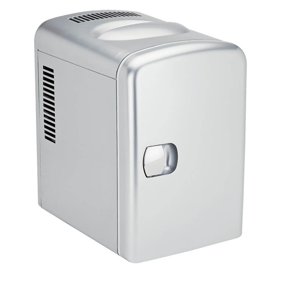 The 6 Can Mini Fridge Features Include A Wall Or Car Adapter, Holds 6 Beverage Cans, Has A Removable Shelf And A Carry Handle.