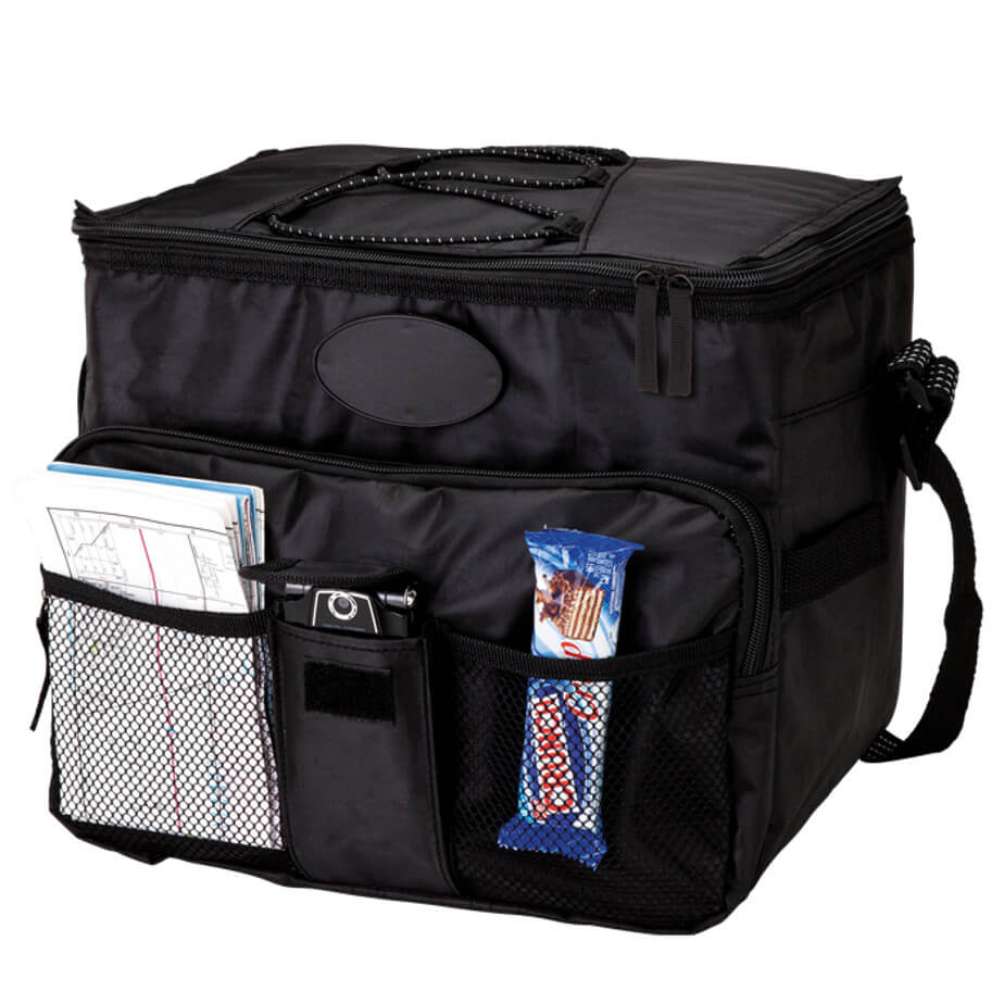 The Black 18 Can With 2 Front Mesh Pockets Has A Zippered Front Pocket, Top Elastic Cord, Zippered Main Compartment, Bottom Stiffener And An Adjustable Shoulder Strap.