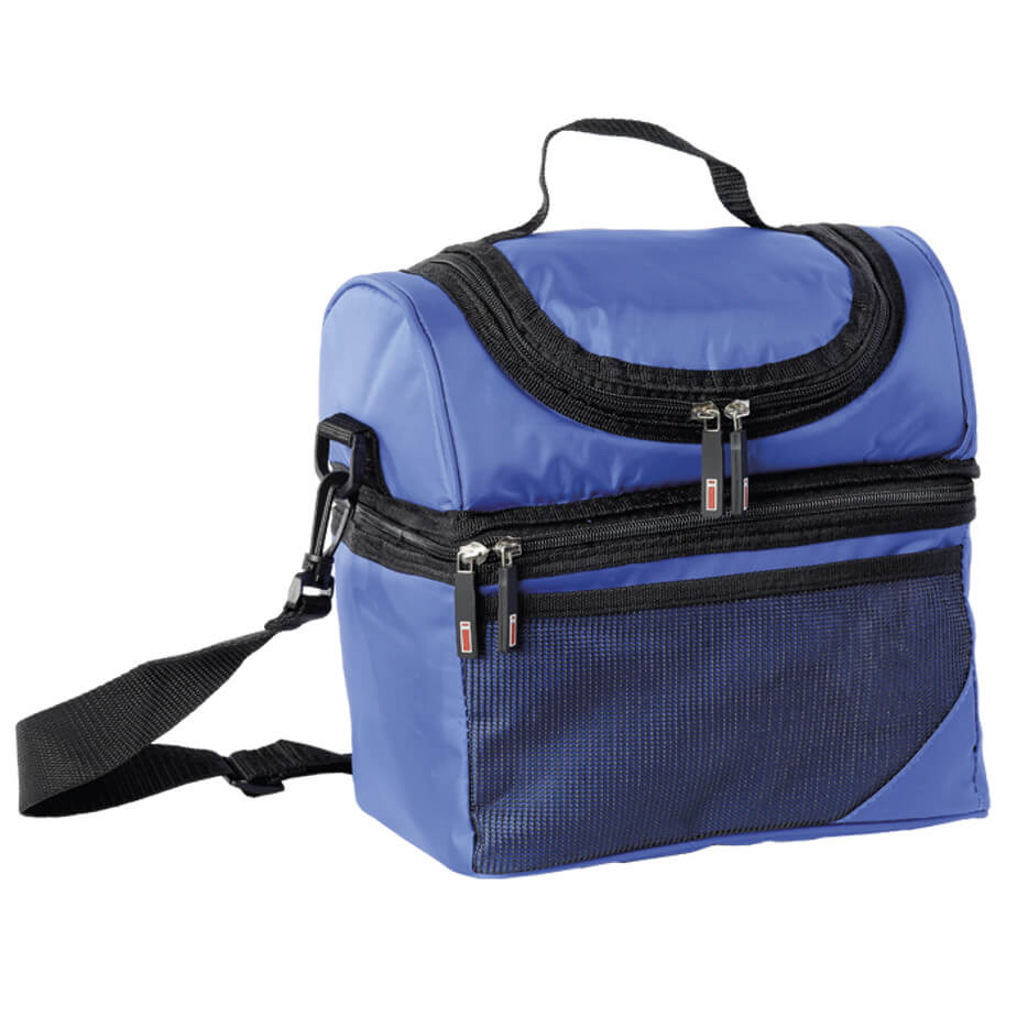 The Royal Double Decker Cooler Is Made From 420D PVC Nylon And PVC Lining.The Features Include A Carry Handle, An Adjustable/Removable Shoulder Strap, Front Mesh Pocket, A Lower Zippered Main Compartment And A Upper Zippered Compartment.