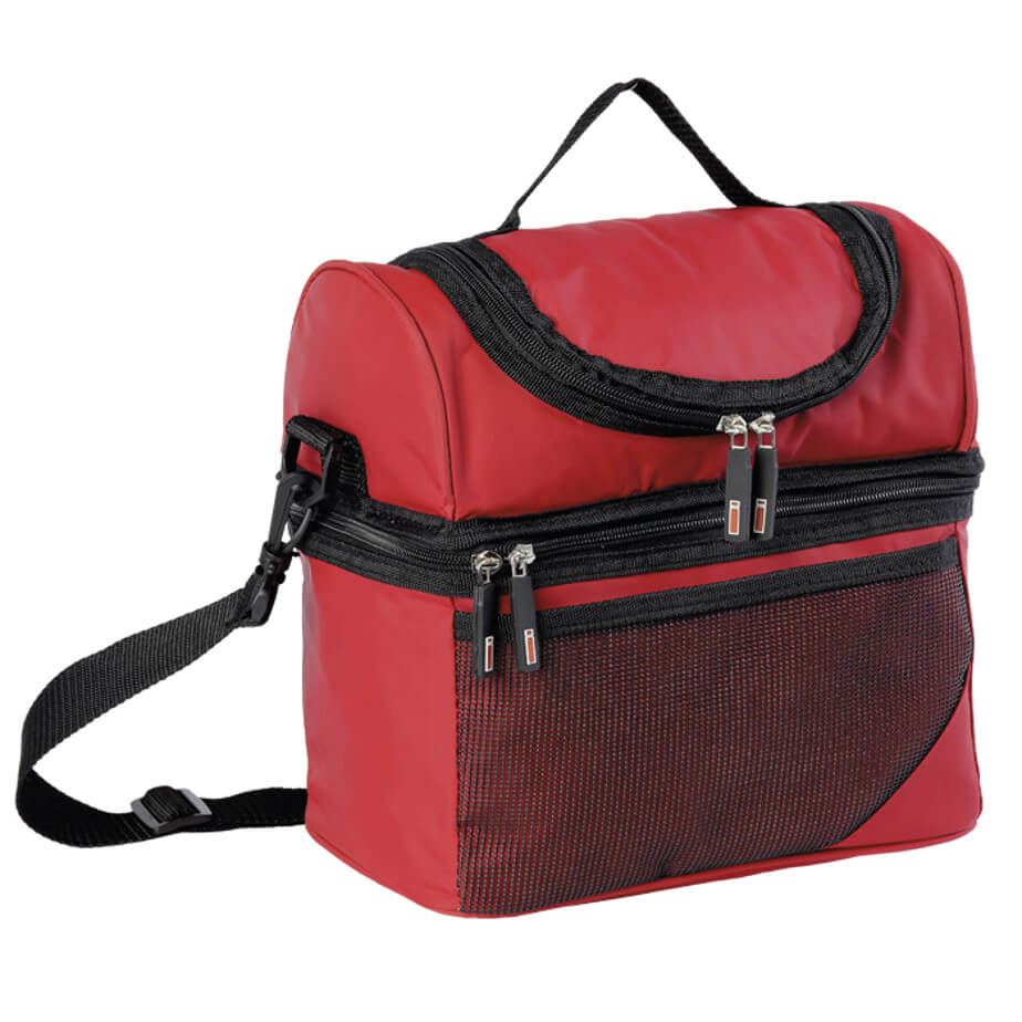 Double Decker Cooler Red Closed - 420D PVC Coated Nylon Exterior