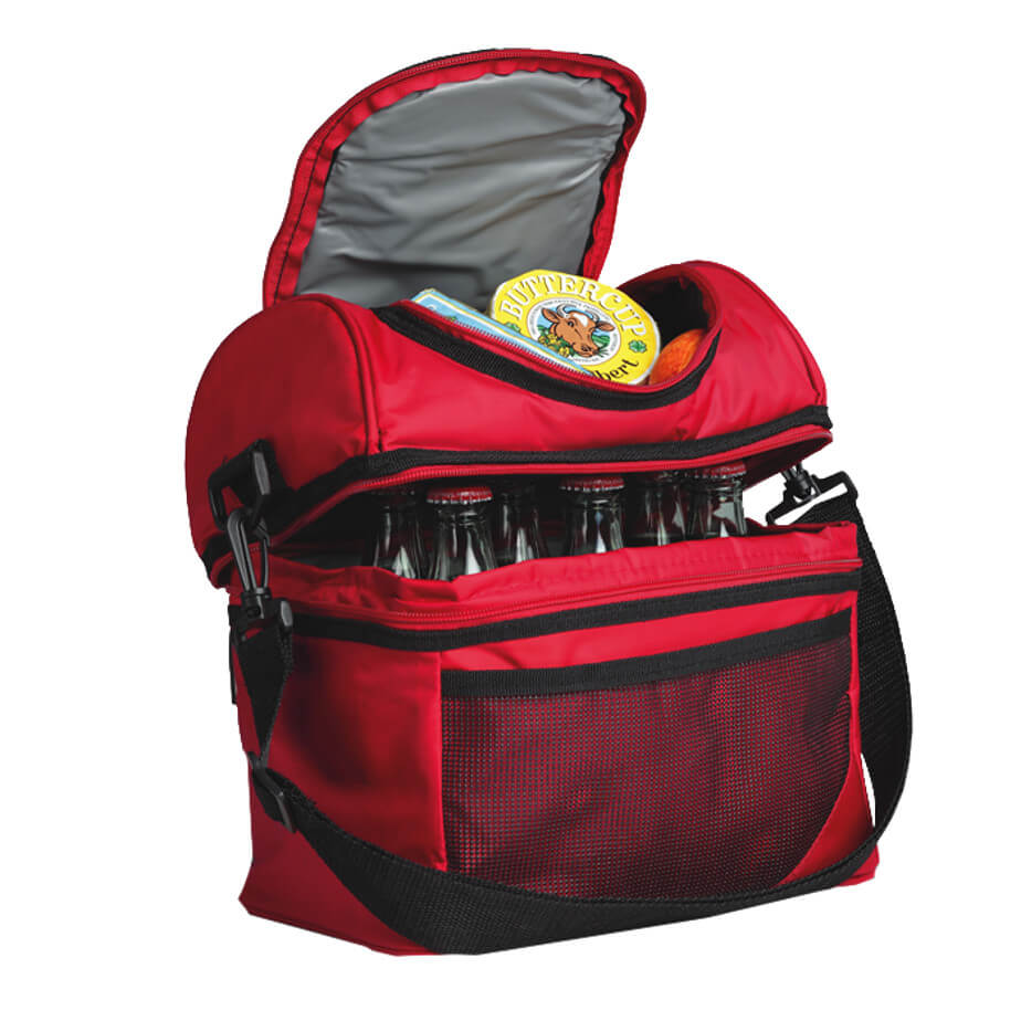 The Red Double Decker Cooler Is Made From 420D PVC Nylon And PVC Lining.The Features Include A Carry Handle, An Adjustable/Removable Shoulder Strap, Front Mesh Pocket, A Lower Zippered Main Compartment And A Upper Zippered Compartment.