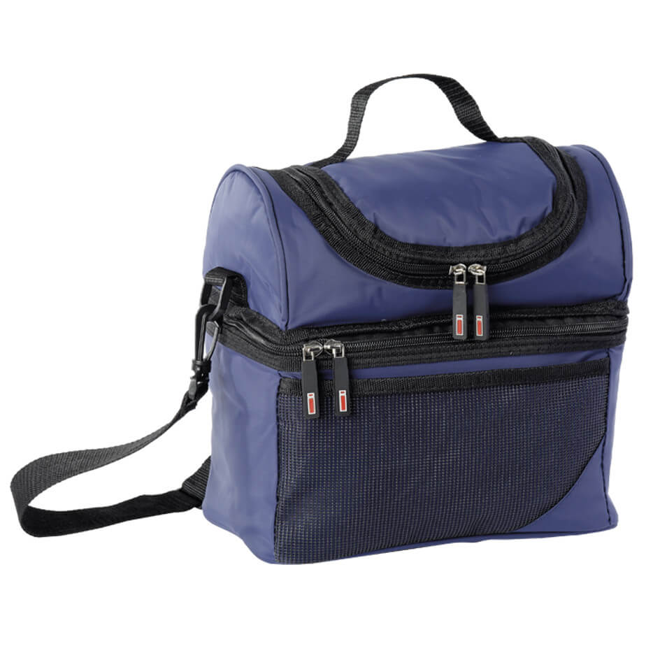 The Navy Double Decker Cooler Is Made From 420D PVC Nylon And PVC Lining.The Features Include A Carry Handle, An Adjustable/Removable Shoulder Strap, Front Mesh Pocket, A Lower Zippered Main Compartment And A Upper Zippered Compartment.