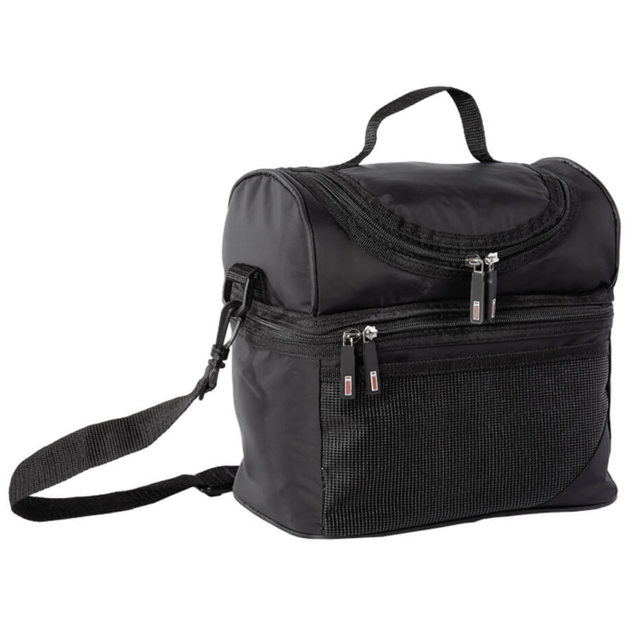 The Black Double Decker Cooler Is Made From 420D PVC Nylon And PVC Lining.The Features Include A Carry Handle, An Adjustable/Removable Shoulder Strap, Front Mesh Pocket, A Lower Zippered Main Compartment And A Upper Zippered Compartment.