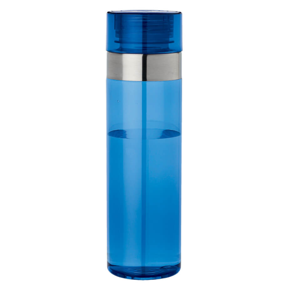 The Blue 1 Litre Tritan Water Bottle Features A BPA Free Tritan Material With A 1L Capacity, A Screw-Off Lif And A Stainless Steel Band.