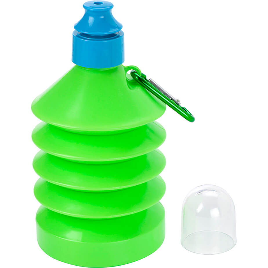 The Pale Green 600ml Collapsible Water Bottle With Carabiner Clip Is Made From PE,PS. The Bottle Will Be Perfect While Having Your Refreshing Drink.