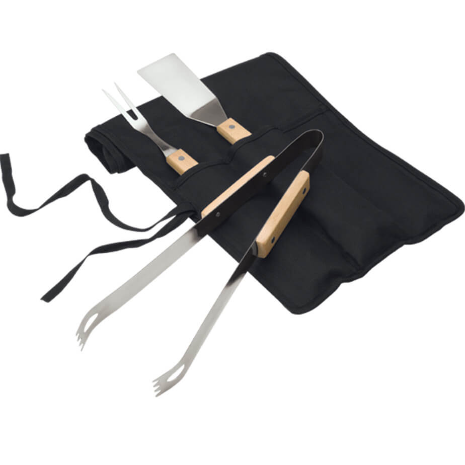 The 3 Piece Braai Set In Carry Case Has A Fold Over Carry Case With Tie Straps, Wood Handles, Steel Braai Tools That Includes A Spatula, Fork And Tongs.