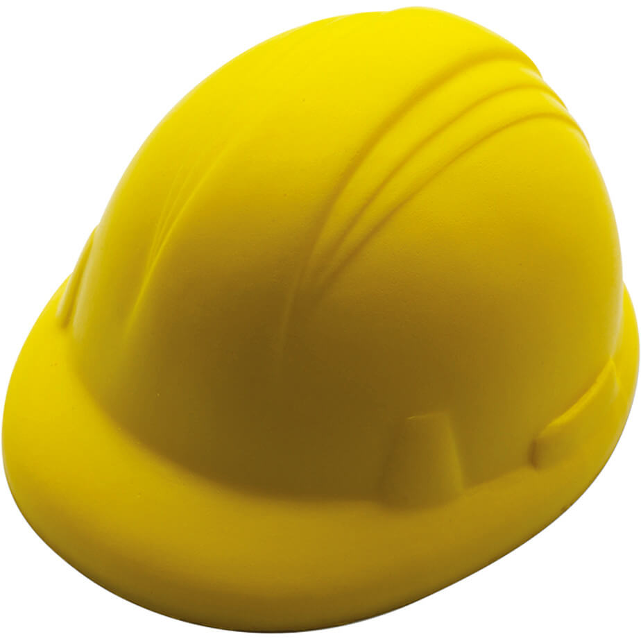 The Yellow Hard Hat Shaped Stress Ball Is Made From PU Foam. The Stress Ball Is Shaped In A Hard Hat For Stress Relieve.