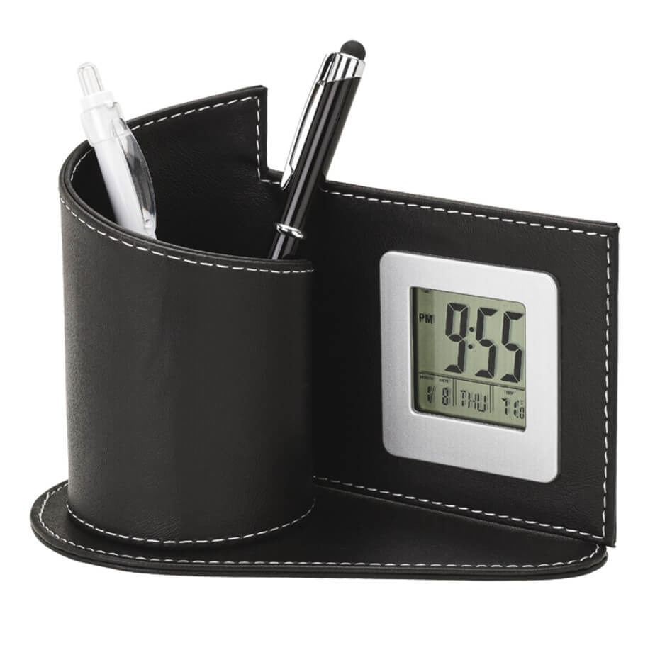 Digital Clock with Pen Holder comes in a black colour and has a curved spiral shape. It is made out of leather and has a clock as well as a place for your pens.