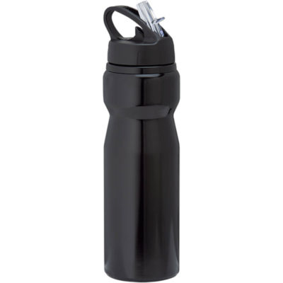 A black 750ml Aluminium Water Bottle with Carry Handle Includes A Comfy Grip, Wide Opening Screw-Off Lid, A Handle With A Flip And A Straw.