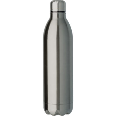 The gunmetal 1L Double Wall Vacuum Flask Has A Screw Off Lid And Keeps Liquids Hot And Cold.