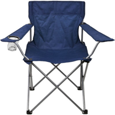 The Navy Folding Outdoor Chair-600D Features A Folding Steel Frame, Armrests, A Mesh Cup Holder, A 210D Carrying/Storage Case With Handles And A Drawstring Closure On Carry Bag.