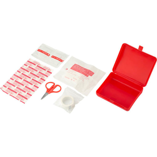 The 10 Piece First Aid Kit has 5 x plasters, 2 x alcohol pads, 1 x non woven tape, 1 x pair of scissors and 1 x non woven sponge.