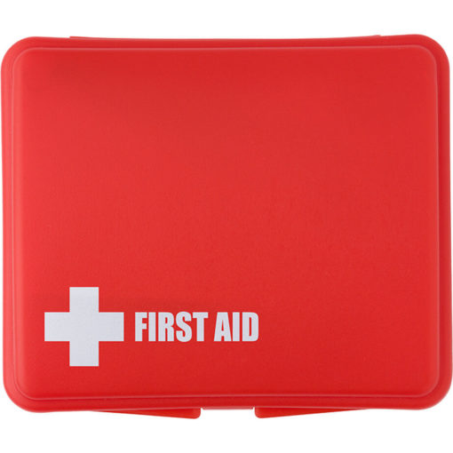 The 10 Piece First Aid Kit In Plastic Box has a pre-printed first aid kit logo.