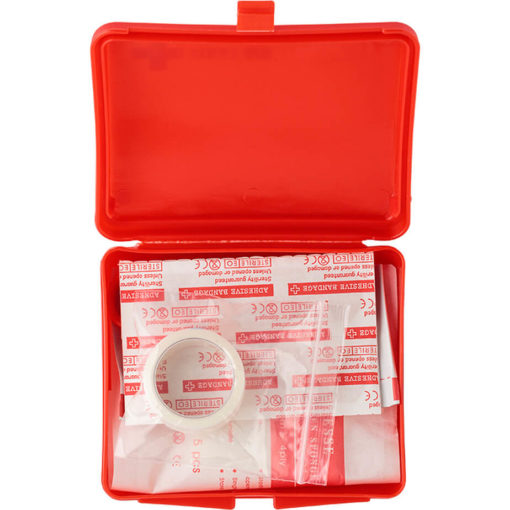 The 10 Piece First Aid Kit is packed in a red plastic clip open case.