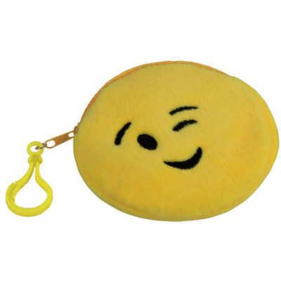 The Emoji Purse - Wink Features A Polyester Material And Features A Zip And Belt With A Bag Clip. Available In Yellow Only.