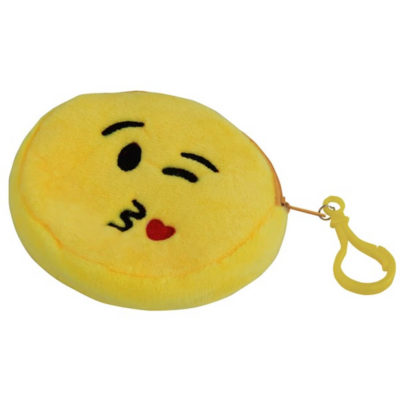 The Emoji Purse - Heart Features A Polyester Material And Features A Zip And Belt With A Bag Clip. Available In Yellow Only.