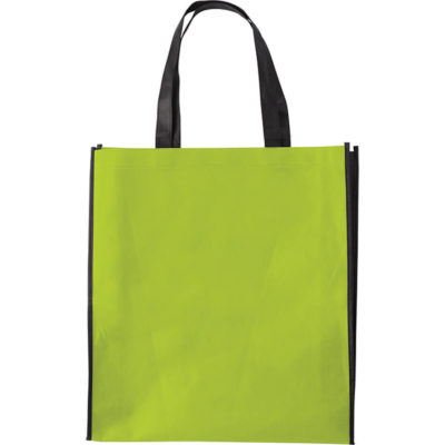The lime Duotone Non Woven Shopper is made using non woven 80gsm material and has two black Handles.