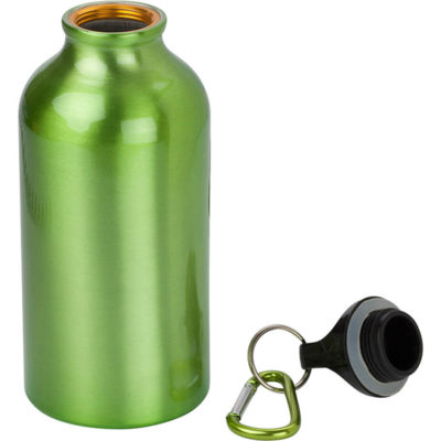 The light green 400ml Aluminium Water Bottle with Carabiner Clip Has a solid body colour with a carabiner belt clip.