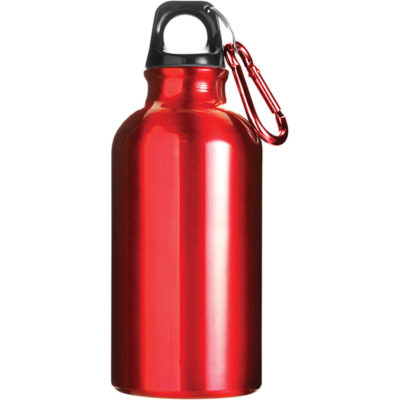 The red 400ml Aluminium Water Bottle with Carabiner Clip Has a solid body colour with a carabiner belt clip.