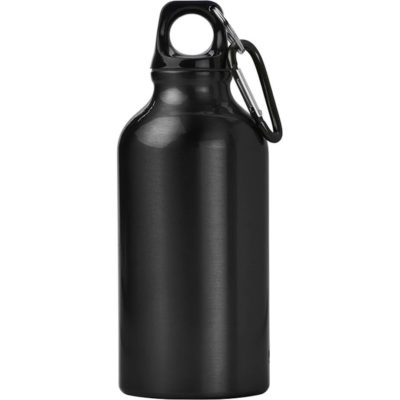 The black 400ml Aluminium Water Bottle with Carabiner Clip has a solid body colour with a carabiner belt clip.