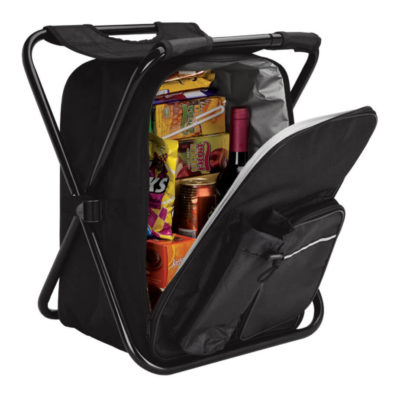 The Picnic Chair Backpack Cooler has a front zip pocket with a insulated bottle holder.