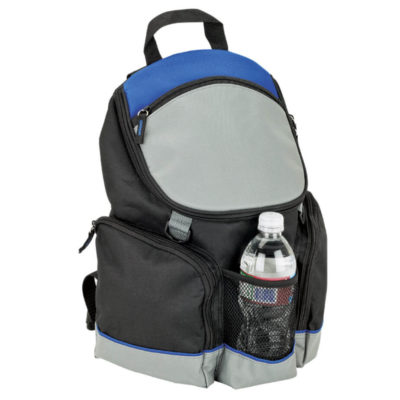The 16 Can Backpack Cooler in blue is made from Durable 600D exterior with a PEVA lining, watertight insulated and padded main compartment.