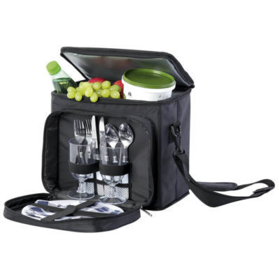 The Two Person Picnic Cooler And Chair has 2 Plastic wine glasses, 2 plastic plates, 2 forks, 2 knives, 2 spoons, 2 fabric napkins