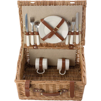The Two Person Willow Picnic Basket has 2 Ceramic plates, 2 ceramic mugs (21ml), 2 forks, 2 knives, 2 spoons
