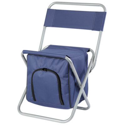 The Birdseye Picnic Chair Cooler in the colour navy with a folding steel frame that is collapsible for easy storage. A cooler with front and back zippered pocket