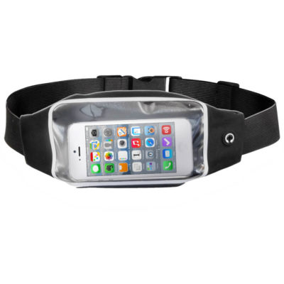 The Race Day Running Pouch is a black lycra and ABS fitness accessory with a clear section front compartment to store your phone, a back compartment for keys and valuables, an earphone outlet and a waistband with a plastic clip closure