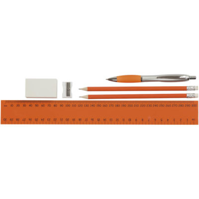 The orange Jumbo Stationery set is made from frosty PVC. The features include a zippered pencil bag with a picasso pen, 2 pencils, a large eraser, sharpener and a 30cm ruler.