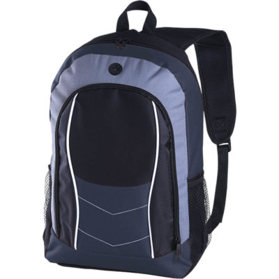 The navy Arrow Design Backpack with Front Flap is made from 600/PVC. It has a cell phone holder and adjustable shoulder straps.