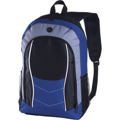 The royal blue Arrow Design Backpack with Front Flap is made from 600/PVC. It has a cell phone holder and adjustable shoulder straps.