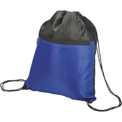 The Drawstring Sport Bag with Zip Pocket in royal blue has a main compartment with a cinch top, a front zip pouch and black drawstring laces. Made from 210D fabric