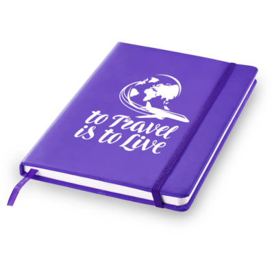Purple Branded Discovery A5 Journal Features A PU Cover And 160 Cream Coloured , Line Pages.