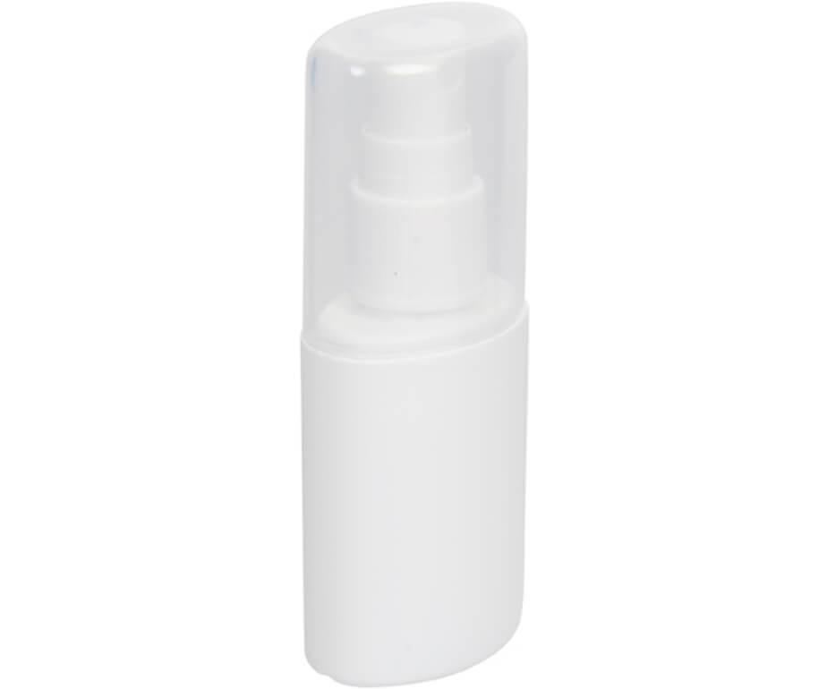 The White Go-Bac Hand Sanitizer Spray Is Made From Plastic. The Sanitizer Is Convenient And Compact.