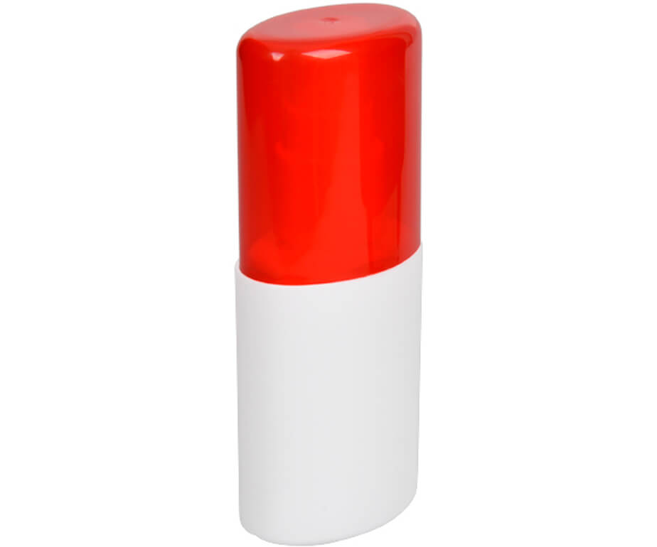 The Red Go-Bac Hand Sanitizer Spray Is Made From Plastic. The Sanitizer Is Convenient And Compact.