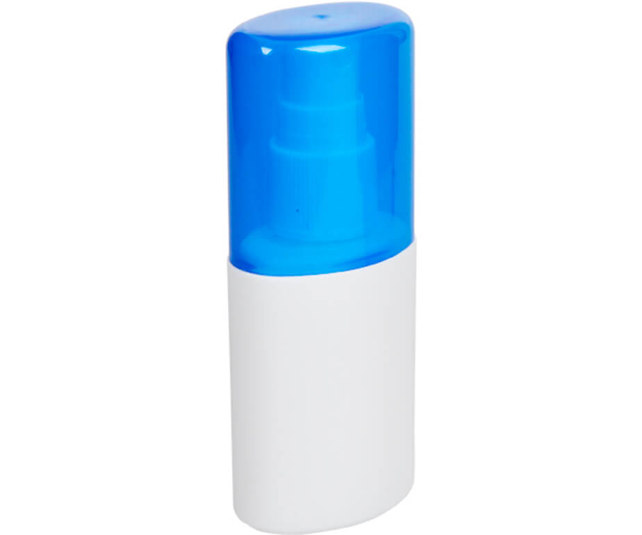 The Blue Go-Bac Hand Sanitizer Spray Is Made From Plastic. The Sanitizer Is Convenient And Compact.