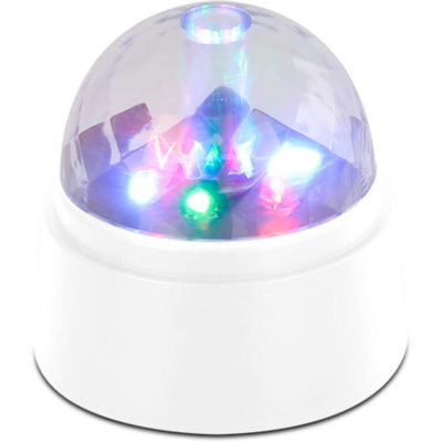 The LED Party Light Features A 360 Degree Rotating Mini LED Light Consol. There Are 6 LED's , 2 Blue, 2 Red And 2 Green.