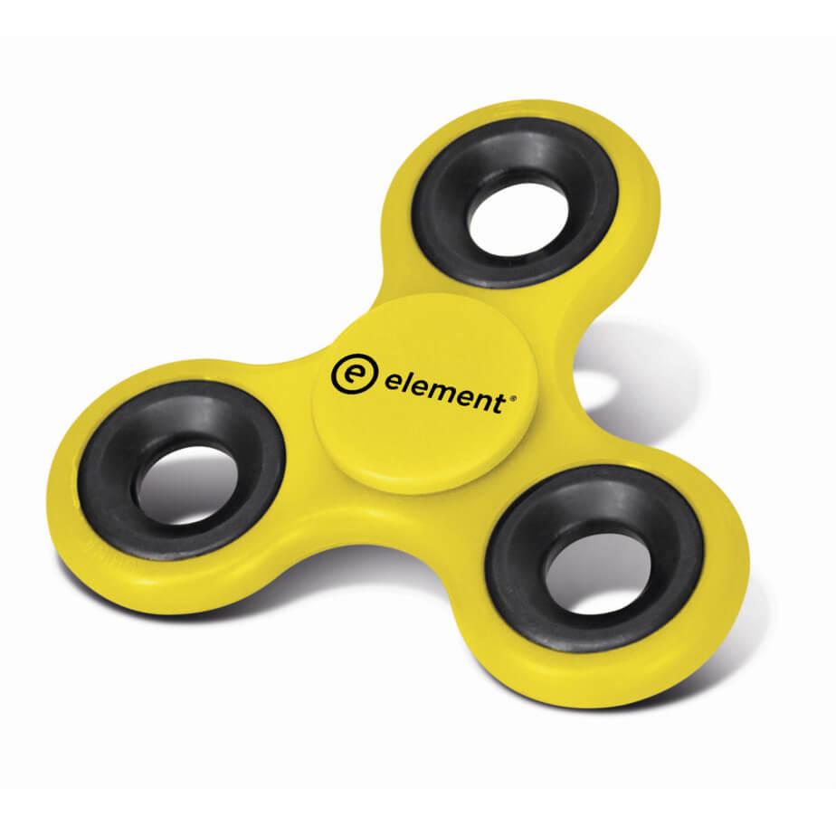 Yellow Three Pronged Design Fidget Spinner With Bearing Center Pad